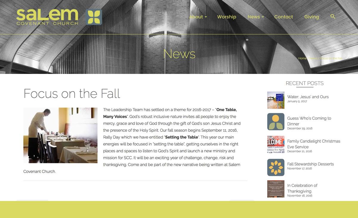 Salem Covenant WordPress Website Remodel 02 Post example