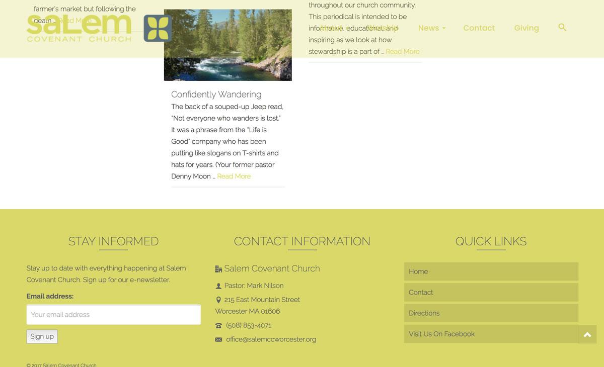 Salem Covenant WordPress Website Remodel 03 footer
