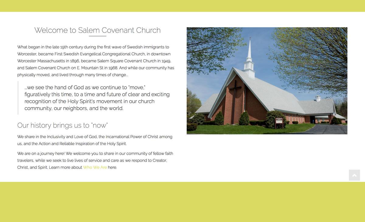 Salem Covenant WordPress Website Remodel 04 Page example