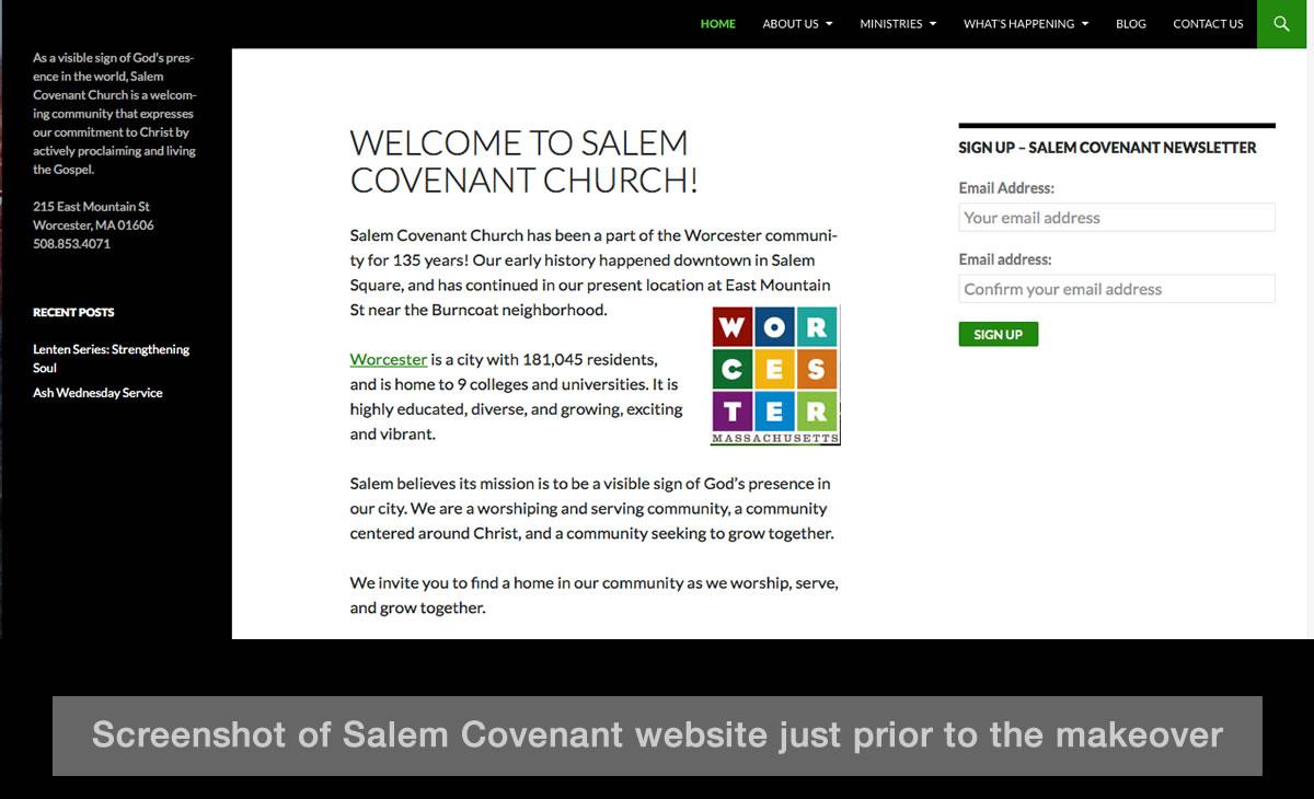Salem Covenant WordPress Website Remodel 06 Vintage Site